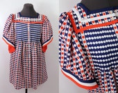 Reserved Vintage  - 60s/70s - Op Art - Red White Blue - Polka Dot - Angel Sleeve - Pleated Baby Doll Top