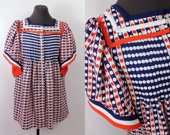 Vintage  - 60s/70s - Op Art - Red White Blue - Polka Dot - Angel Sleeve - Pleated Baby Doll Top