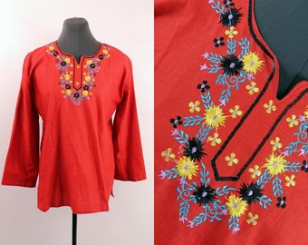 Vintage - Ethnic - Red Linen Cotton - Floral Embroidered - Long Bell Sleeve - Tunic - Top - Hippie - Boho