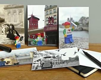 postcard set - Parisian minifigs