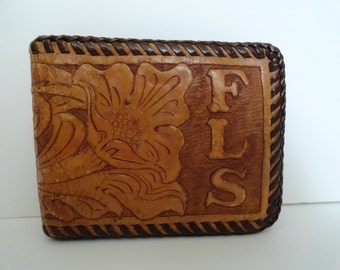Vintage Tooled Leather Bi Fold Wallet| Vintage Western Tooled Leather Wallet| Made In USA Tooled Leather Wallet