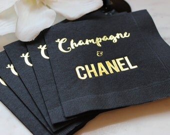 Chanel Party, Gold Cocktail Napkin, Chanel Napkin, Gold Foil Napkin, Champagne and Chanel, Black Napkin, Gold and Black Napkin