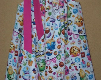 Shopkins Pillowcase Dress, Girls Dress with Shopkins Characters, Toddler Dress, Baby Dress,  Girls Sizes 6 mos to 14