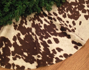 "48"" Faux Cowhide Christmas Tree Skirt, Farmhouse Christmas Decoration, Cow Print, Western Tree Skirt, Cow Decoration,  Xmas Tree Skirt"