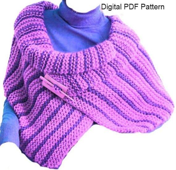 Shoulder Wrap Cape Shawl PDF Pattern Easy Knitting PDF