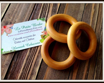 3 Organic Maple Wood Rings – Size 2.5 Inch – Bulk buy available - Perfect for Homemade Waldorf Baby Toys and Wooden Teethers