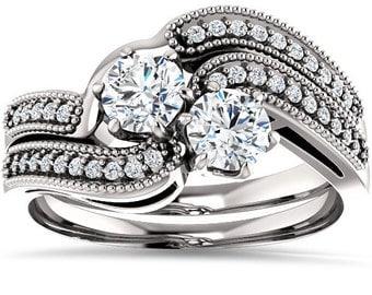 Diamond Engagement Ring, 1.00CT Two Stone Diamond Forever Us Engagement Ring Set 10K White Gold Anniversary Ring Set 2 Stone Diamond Ring