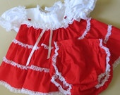Retro Baby Party Dress Bloomers Red Rufles White Lace Ribbons Size 12 Months Bryan 304b