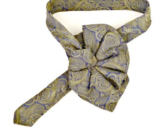 Ladies Silk Necktie Scarf, upcycled Mens Tie in green & blue by Joseph Abboud, Eco fashion Accessory, ladies ascot collar, necktie necklace