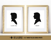 I Love You I Know set of two Han and Leia silhouette victorian style hand pulled screen prints geek gift