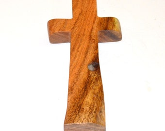 "Wood Wall Cross-Hand Held Prayer Cross-Witness Cross-Paper Weight- Original Crooked Cross- 3""x5""x1""; Free Ground Shipping USA; cc5-15082616"