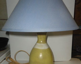 Robert L Morgan Small Art Pottery Table Lamp and Shade Works