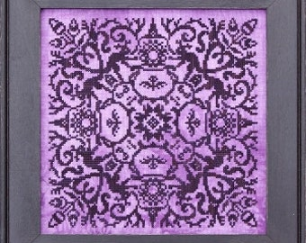 Fire Burn and Cauldron Bubble : Ink Circles cross stitch patterns sampler monochromatic Halloween Witch Autumn