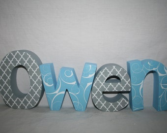 Wooden letters for nursery, Nursery letters, 4 letter set, Wood letters, Name sign. Name letters, Blue nursery decor, Baby shower decor
