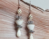 Ekua.Rustic Jewellery,Earthy,Tribal,Rutilated Quartz,Handmade Pottery,Primitif,Urban,Artisan Earrings By YeeLen spirit