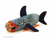 Stormy Shark Case by MinneBites / Geeky Guys Gift - Handmade Fish - Shark Pencil Case - Desk Accessory - Scuba Diver Gift - Personalized Bag