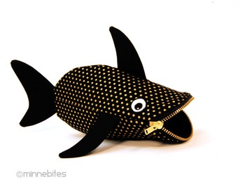 Baby Bling Shark by MinneBites / Handmade Black Gold Shark Case - Small Cute Fish Purse - Zipper Pouch - Kids Crayon Pouch - Ready to Ship