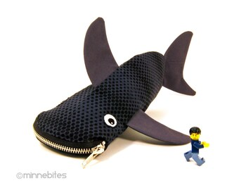 Shark Pouch by MinneBites / Scuba Diver Gift - Geeky Gift for Guys - Black Sea Pencil Bag Desk Accessory - Office Organizer - Ready to Ship