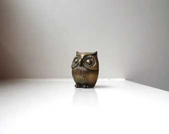 Mod Owl Brass Bird Sculpture Figurine 1970's