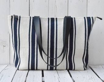 Handwoven Nautical Tote Bag, Woven Navy Striped Beach Bag, Black Leather Strap, Zipper Large Travel Bag, Unique Christmas Gift for Wife