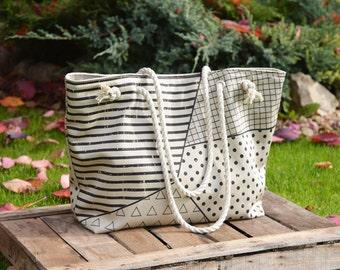 Safari canvas tote bag, Weekender Diaper Printed shoulder bag, large beach bag, beige canvas hiking bag, handmade gift for wife, macbook bag