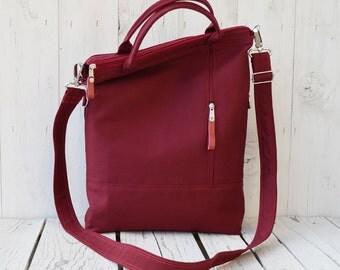 burgundy canvas tote bag, zipper crossbody messenger, unisex laptop carrier, canvas macbook satchel, valentine day gift for wife, birthday