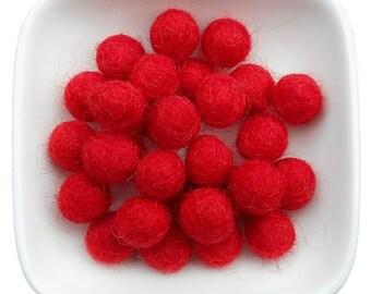 30 wool felt balls 1cm red