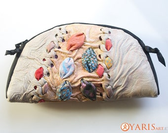 Exclusive Womens cosmetics case  - Handmade and handtooled leather soft pouch -