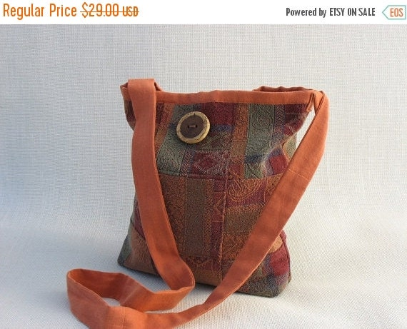 50% OFF Crossbody Bag Messenger Bag Pumpkin Orange Red Green and Blue OOAK