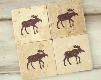 Natural stone coaster.  Moose Coasters.  Set of Four Coasters. Wedding gift. Christmas Gift