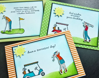 Golf Birthday Cards Set of 3, Gift for Golfer, Golf Lover Cards, Golf Gifts, Summer Greeting Cards, Father's Day Gift, Handmade Golf Cards
