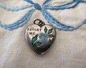 20s, 30s, vintage sterling silver heart - flowers, forget my not, engraved