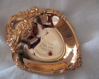 vintage goldplated heart dish - ornate, candy, floral