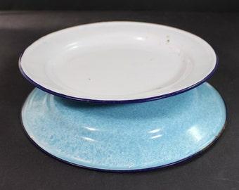 Vintage Enamel Graniteware splatter plates x 2