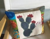 Contemporary Cactus Pillow - One of a Kind - Appliqued Quilted Pillow