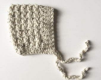BELL crochet pixie baby bonnet - ivory tweed  - MADE to ORDER