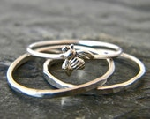 Sterling silver stacking tiny bee ring, stackable ring SET, serendipity handcrafted jewelry