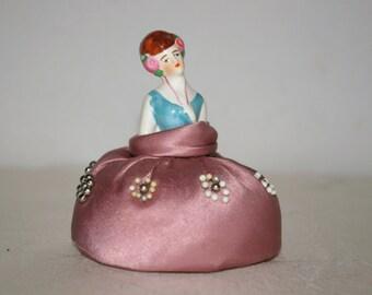 Elegant Vintage Painted Porcelain Ceramic Lady Holding Necklace Satin Skirt Pin Cushion