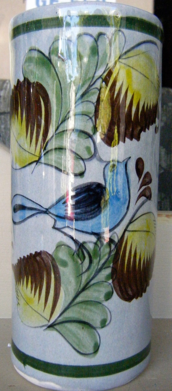 Mexican Pottery Blue Bird Vase Signed and numbered Vintage to Antique , Tonala Mexican Pottery