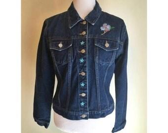 Denim Floral Embroidery Jacket