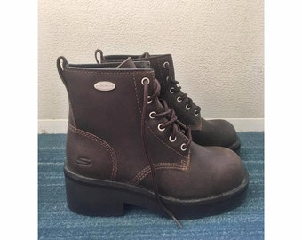 90s Brown Leather Sketcher Boots Women's US Size 6.5