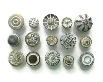 CLEARANCE Lot of 15 vintage drawer knobs - All different - Distressed White - Eclectic Collection