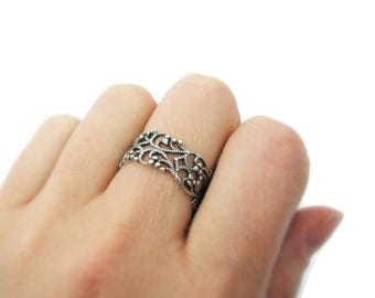 Lace ring. Silver ring. Sterling silver ring. Open work sterling silver. silver jewelry, Wide silver ring. Wide ring. (sr10045-979B)