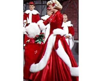 Pageant Costume White Christmas Rosemary Clooney Red Christmas Gown Dress Glitz National Wear Custom size 3/6 12m 2 3 4 5 6 7 8 9 10 yrs