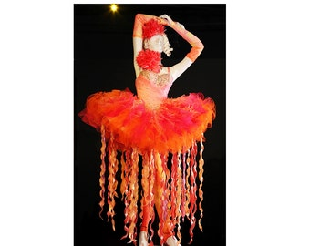 Pageant Glitz National Costume Fire Dress on fire Hobby movie OOC Fairy Costume Custom 12 m up to 10 yrs
