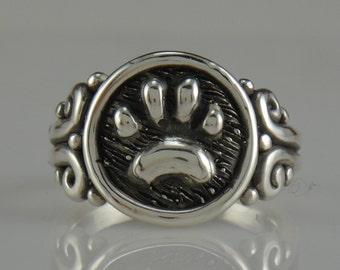 Sterling Silver Paw Print Ring- One of a Kind