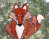 Stained Glass Suncatcher - Red Fox, Sly as a Fox, Original Design, Handmade