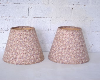 Vintage Pair Fabric Covered Lamp Shades