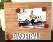 """Hard Court Basketball Sport team player coach boy teen room gift custom handmade magnetic picture frame holds 5"""" x 7"""" photo 9"""" x 11"""" size"""