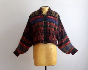 Vintage 80s Irish Mohair Cropped Hand Loomed Coat